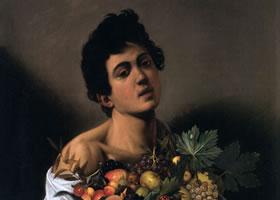 卡拉瓦乔《捧水果篮男孩》油画作品