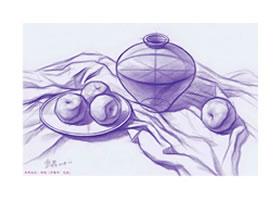 水果组合素描结构画法