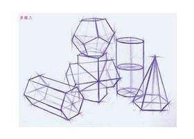 几何体组合素描的结构画法