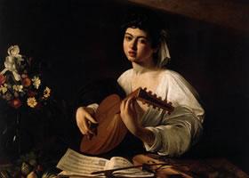 卡拉瓦乔《弹曼陀林的姑娘》油画作品