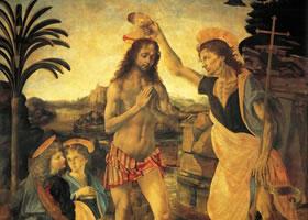 达芬奇《基督的洗礼》作品