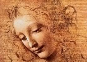 达芬奇《少女头像》木板画作品