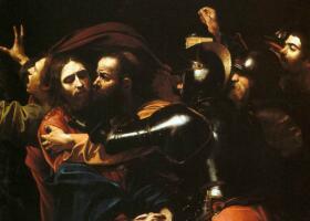 卡拉瓦乔《耶稣被捕》油画作品