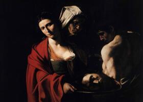 卡拉瓦乔《带着施洗约翰头颅的莎乐美》油画作品