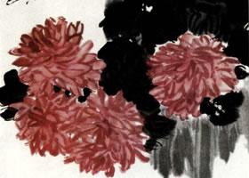 齐白石国画菊花作品代表作:《菊石图》