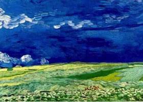 梵高《乌云密布的天空下的麦田》作品