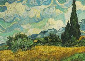 梵高《柏树中的麦田》油画作品