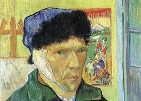 梵高割掉耳朵后的自画像油画作品