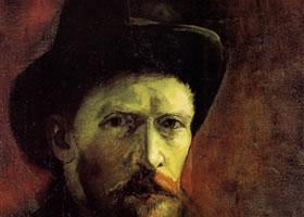 梵高《黑色毡帽自画像》作品