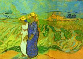 梵高《路过麦田的两个女人》油画作品