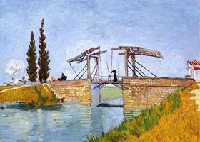 梵高《曳起桥与打伞女士》油画作品