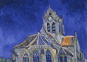 梵高《奥维尔的教堂》油画作品