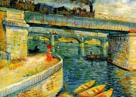 梵高《阿尼埃尔塞纳河大桥》绘画作品