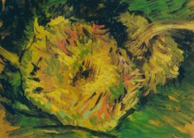 梵高《两朵剪下的向日葵》油画