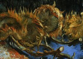 梵高《四朵剪下的向日葵》油画作品