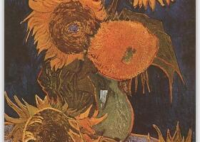 梵高《花瓶里的五朵向日葵》油画