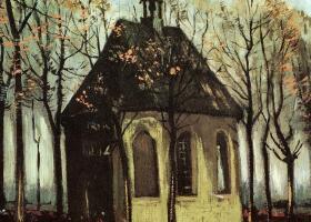 梵高《纽南会众离开归正教堂》油画作品