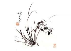 国画兰花的画法:叶丛添花