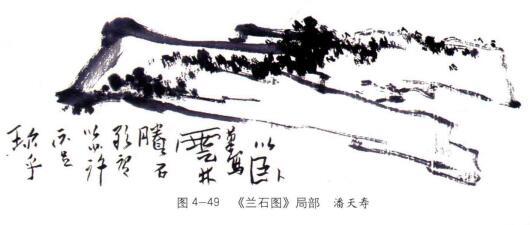 《兰石图》局部,潘天寿
