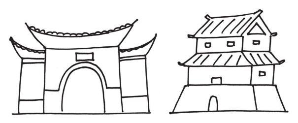 东方建筑物风景简笔画