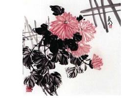 国画菊花的范画练习步骤一