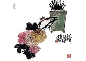 国画菊花的范画练习步骤三