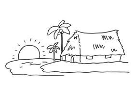 海边风景简笔画作品