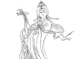 王昭君白描仕女图