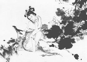 荷露白描仕女画稿