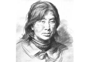 洛宁女子肖像素描作品