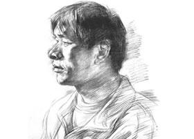 南阳小子肖像素描作品