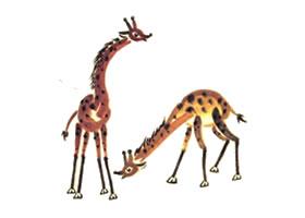 长颈鹿儿童国画画法