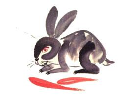 兔子儿童水墨画画法