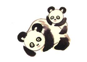 熊猫母子儿童水墨画画法