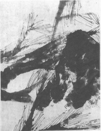 水墨画技法之脱胶法(绘制《松石图》时运用脱胶法的过程)01