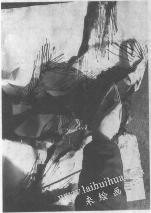 水墨画技法之脱胶法(绘制《松石图》时运用脱胶法的过程)02