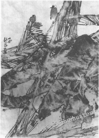 水墨画技法之脱胶法(绘制《松石图》时运用脱胶法的过程)05