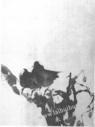 水墨画技法之冲墨法(《寒雀图》的绘制步骤)02