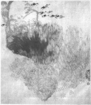 水墨画技法之冲墨法(《寒雀图》的绘制步骤)07