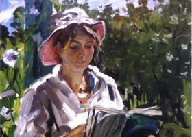 俄罗斯《娜达莎在凉台》风景油画