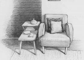 沙发一角素描画法