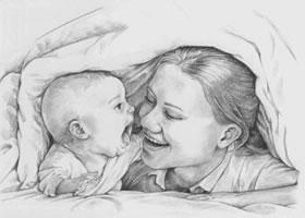 被窝里的亲宝宝素描画法