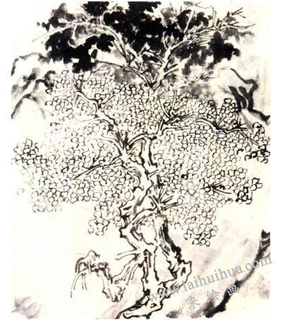 对关仝《秋山晚翠图》(传)中的主丛树的笔墨、造型的解渎