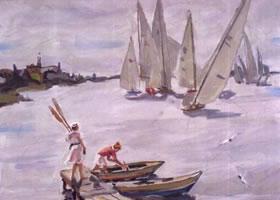 俄罗斯《帆船》风景油画