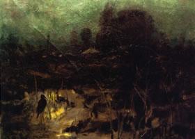俄罗斯《月夜》风景物油画