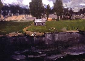 俄罗斯《山雨欲来》风景油画