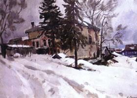 俄罗斯《老教堂》风景油画