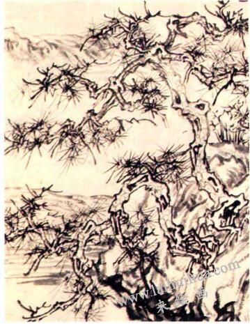 王诜《渔村小雪图》中松树笔法