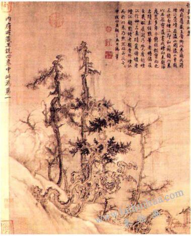 王诜《渔村小雪图》
