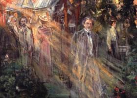 俄罗斯《列宾在拜纳特庄园》人物油画